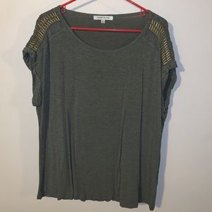 Olive Drab Cotton Tee with Detailed Sleeve